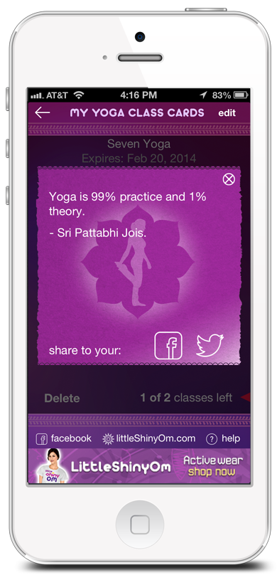 iPhone Yoga Class Card App